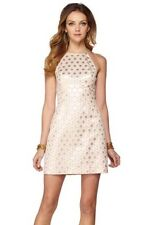 $248 Lilly Pulitzer Pink Gold Polka Dot Halter Shift Dress Sz 2 4 Textured Pearl