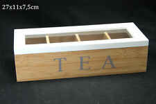 Schabby Elegante Estilo Madera de Bambú té Caja de almacenamiento de 4 Compartimientos Con Tapa