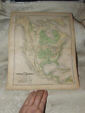 1856 Map of North America Cartee's Physical Geography Hickling Swan & Brown