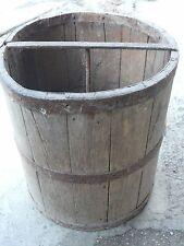 Dry measure Antique primitive Wooden Barrel Bushel Basket Bucket Iron Banded