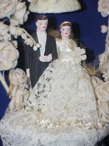Vintage 1940s Bride & Groom Wedding Cake Topper Hand Painted Chalkware IVORY