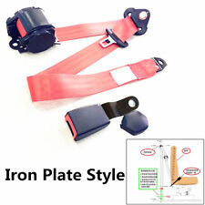 Car 3 Point Safety Seat Belt Set Adjustable Retractable Red Curved Rigid Buckle