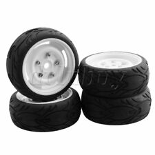 4xWhite Rubber Tires Plastic Wheel Rim RC1:10 On Road Car Drift Car 12mm