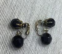 Vintage Earrings Czech Glass Faceted Black Bead Goldtone Clip On Drop