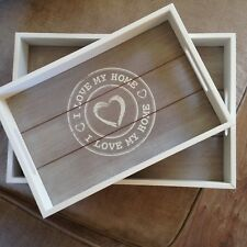 "Shabby Chic White and Limed wood set of 2 Serving Trays ""I LOVE MY HOME"""