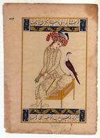 Islamic Miniature Painting of Persian Lady with Bird Hand-Painted Fine Artwork