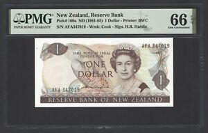 New Zealand One Dollar (1981-85) P169a Uncirculated Graded 66