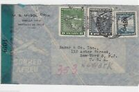 CHILE TO US 1941 COVER , MULTI CANCELS ON REVERSE & CENSOR. REF R385