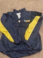 Vintage Navy Yellow Nike Windbreaker Zip Up Jacket Size Youth XL Big Swoosh RARE