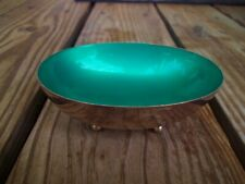 Vintage 1940's Reed & Barton Green Enamel Silver Plate Ball Footed Oval Bowl