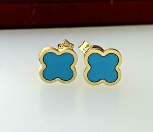 Four Leaf Clover Turquoise Stud Micro Mini Earrings 14k Yellow Gold Baby Girl