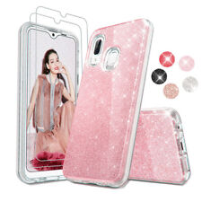 For Samsung Galaxy A20/A30 Hybrid Glitter Crystal Case Cover+Screen Protector