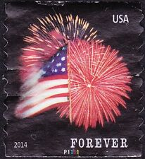 US - 2014 - Flag & Fireworks Star Spangled Banner Issue Plate #P1111 Single 4854