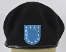Black Army Military Branch 1593 Blue Patch Embroidered Beret Hat Cap Fitted