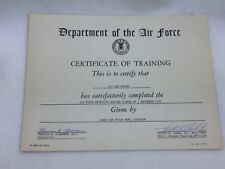 Vintage United States Air Force 1965 25140 Department Certificate of Training