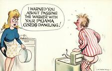 RUDE COMIC BAMFORTH MAN CAUGHT in CLOTHES WASHING MACHINE ROLLERS POSTCARD - NEW