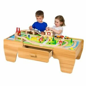 80 Piece Wooden Train Set with Table Farm House Vehicle Building Playset Toy