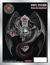 Gothic Dragon and Skull Cross Car Sticker - Auto Decal - Anne Stokes