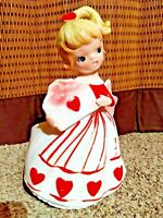 "Vintage Valentine's 8"" Lady Figurine Planter Relpo Samson Imports 5602 1965"