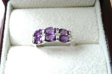 925 STERLING SILVER PURPLE AMETHYST TRILOGY FINE BAND RING SIZE O US 7.5