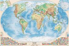 Physische Weltkarte, 220x144 cm, deutsch