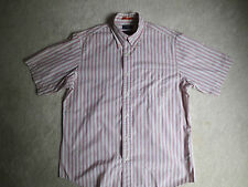 Mens Dockers Short Sleeve Shirt Button Collar M Red Beige Stripes Cotton Blend