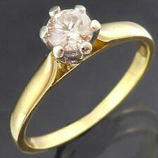 Nice 1/3ct CHAMPAGNE DIAMOND 18k Solid Yellow GOLD SOLITAIRE RING Val=$1400 SZ O