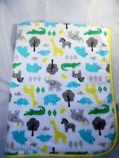 Carters Jungle Giraffe Turtle Zebras Trees White Sherpa Baby Blanket Yellow Trim