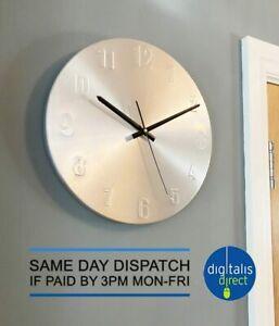 Aluminium Kitchen Wall Clock 30cm Diameter Brushed Stainless Effect