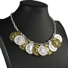 Silver & brass colour large roman coin charm pendant belcher choker necklace