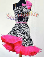 Feather Ballroom Latin Paso Doble Salsa Rumba US12 Dance Dress#L2574Animal Print