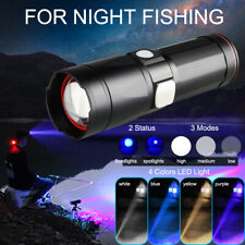 High-power Blue White Yellow Purple LED Fishing Flashlight + Bracket USB Cable