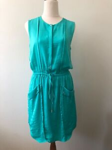 Portmans Size 8 Teal Drawstring Waist Button Up Sleeveless Short Blouson Dress