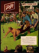 1951 Schlitz Beer - Company Picnic - Alcohol - Funny - Color Print Vintage Ad