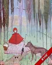 LITTLE RED RIDING HOOD & WOLF IN THE FOREST WOODS PAINTING ART REAL CANVAS PRINT