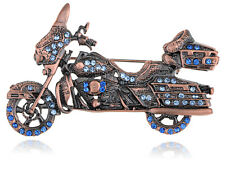 Sapphire Crystal Harley Davidson   Motorcycle Costume Jewelry Pin Brooch
