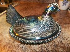 Vintage Carnival Glass Hen on Nest Glass,   Blues n Green