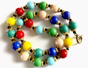 """Vintage Harlequin Glass Bead Necklace 15.5"""" Red Blue Green Pink Yellow Turquoise"""