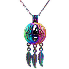 COLORFUL Rainbow Charms Heart Wing no Oyster Cage Dream Catcher Necklace -C762