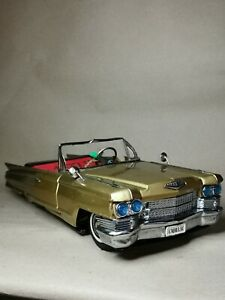 Vintage Tin Toy Golden Cadillac Convertible 1964 17 inches Bandai Made in Japan