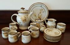 Australian Studio Pottery Tea Set Teapot 18 Pieces Hand Crafted Signed LB
