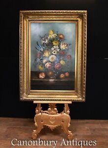 Flemish Oil Painting Floral Still Life Vivid Flowers