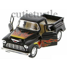 Kinsmart 1955 Chevy Stepside 3100 PickUp Truck 1:32 Diecast with Flame Black