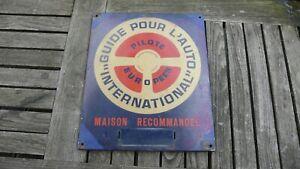 rare ancienne plaque emaillée tole guide auto international no michelin 1950