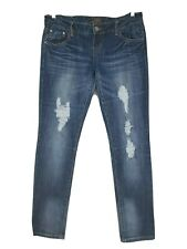 Almost Famous Womens Skinny Jeans Size 9 Juniors Blue Destroyed Distressed