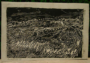 Original Engraving Wood Engraved Memorial Van Gogh Verner Auvers Over Oise 1957