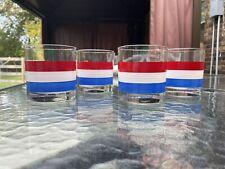 Vtg Georges Briard Red White & Blue Striped Lowball Rocks Glasses Set of 4