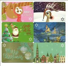 Lot 6 Walmart Gift Cards No $ Value Collectible Christmas Santa Reindeer