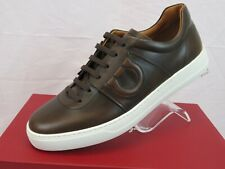 SALVATORE FERRAGAMO CULT 6 BROWN BURNISHED LEATHER GANCINI SNEAKERS 11 M ITALY