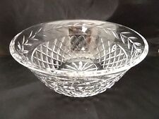 "WATERFORD CRYSTAL OLD MARK Bowl 9"" Large Serving Diamond Cut & Laurel Wreath EXC"